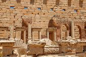 stock photo of libya  - Libya Tripoli Leptis Magna Roman City UNESCO World Heritage Site - JPG