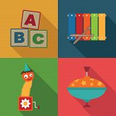 stock photo of jack-in-the-box  - set of toy symbols with blocks xylophone jack in the box and spinning top - JPG