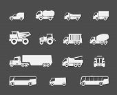 stock photo of semi trailer  - Heavy trucks and buses flat icons set - JPG