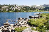 stock photo of beartooth  - Alpine lake along the Beartooth Highway in Wyoming - JPG