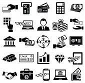foto of e-business  - finance money icon set exchange bank gold business man safe online banking card commerce dollar check credit vector symbol - JPG