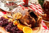 image of barbary duck  - roasted duck on Christmas table - JPG