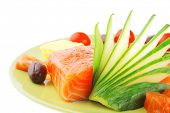 stock photo of fresh water fish  - fresh smoked red fish fillet on plate and rosemary - JPG