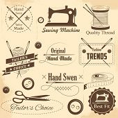 picture of tailoring  - illustration of vintage style sewing and tailor label - JPG