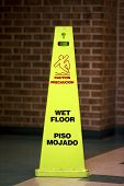 pic of slip hazard  - Caution Wet floor sign against a bathroom  - JPG