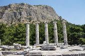 stock photo of ionic  - Ionic columns of the Temple of Athena Polias in ancient Priene Turkey - JPG