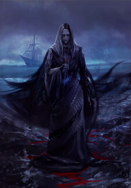 image of paranormal  - Ghost lady standing on a shore with a talisman in her hand - JPG