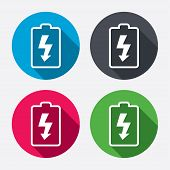 image of lightning  - Battery charging sign icon - JPG