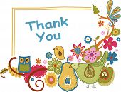 stock photo of thank you  - Illustration of thank you card with floral and bird - JPG