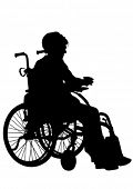 picture of lame  - Silhouettes wheelchair and women on white background - JPG