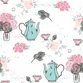 stock photo of garden-art  - tea garden party seamless pattern - JPG
