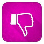stock photo of dislike  - dislike violet flat icon - JPG