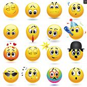 foto of fools  - Vector set of smiley icons with different face expression - JPG