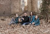 picture of nuclear family  - family portrait of five people in autumn setting - JPG
