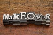 picture of makeover  - makeover word in mixed vintage metal type printing blocks over grunge wood - JPG