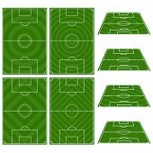 stock photo of offside  - An Illustration Set of Football Fields with Circular and Diagonal Patterns - JPG