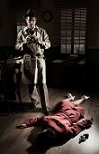 picture of crime scene  - Photographer with vintage camera on crime scene with dead woman lying on the floor film noir scene - JPG