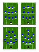 image of offside  - Football field with players in different team formations - JPG