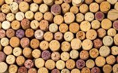picture of wine cellar  - Closeup of a wall of used wine corks - JPG