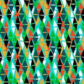 image of jade  - Vector seamless bold harlequin pattern colorful hand painted diamond shapes in bright multiple colors aqua blue - JPG