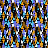 picture of harlequin  - Vector seamless bold harlequin pattern colorful hand painted diamond shapes in bright multiple colors black - JPG