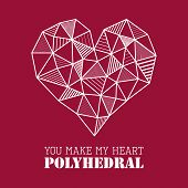 foto of marsala  - Vector abstract geometric polygonal white heart with line design hatching on marsala red background - JPG