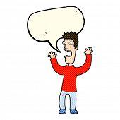 foto of terrifying  - cartoon terrified man with speech bubble - JPG