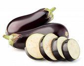 image of aubergines  - Eggplant or aubergine vegetable isolated on white background cutout - JPG