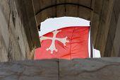 picture of maltese-cross  - Flying Malta National Flag - White cross on red ** Note: Soft Focus at 100%, best at smaller sizes - JPG