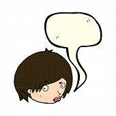 picture of eyebrows  - cartoon female face with raised eyebrow with speech bubble - JPG