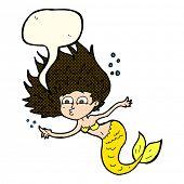 foto of mermaid  - cartoon mermaid with speech bubble - JPG
