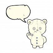 stock photo of bear-cub  - cartoon polar bear cub with speech bubble - JPG