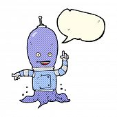 foto of spaceman  - cartoon alien spaceman with speech bubble - JPG