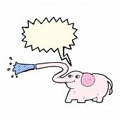 stock photo of squirt  - cartoon elephant squirting water with speech bubble - JPG