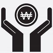 foto of won  - Hand showing won sign icon - JPG