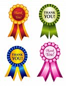 picture of rosettes  - Elegant shiny award ribbon rosettes with thank you note inside - JPG