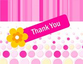 stock photo of politeness  - Colorful pink dotted thank you card with a beautiful flower and retro striped background - JPG