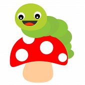 picture of worm  - Illustration of a cute little green worm on a red mushroom isolated on white - JPG