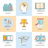 pic of online education  - Set of line icons for education - JPG