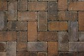 picture of paving  - Red brick paving stones texture background photo - JPG