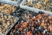 stock photo of stall  - Assorted buttons for sale on a market stall - JPG