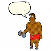 image of weight lifter  - cartoon man lifting weights with speech bubble - JPG