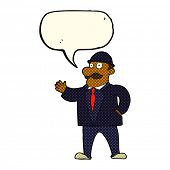 image of crazy hat  - cartoon sensible business man in bowler hat with speech bubble - JPG