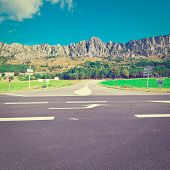 stock photo of crossroads  - Crossroads in the French Alps Instagram Effect - JPG