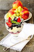 pic of curd  - curd dessert with fresh berries and fruits - JPG