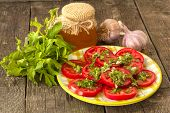 pic of mints  - homemade salad of tomato mint and garlic with honey dressing - JPG