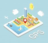 picture of gps  - Flat map mobile GPS navigation - JPG