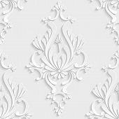 pic of damask  - Vector Floral Damask 3d Seamless Pattern Background - JPG