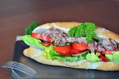 stock photo of baguette  - Healthy Tuna Baguette With Lettuce - JPG