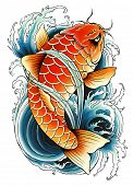 picture of koi tattoo  - Illustration of traditional asian carp swimming in water - JPG